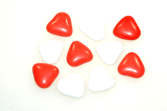 Mini hartjes rood en wit