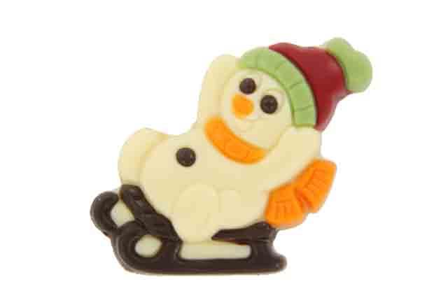 Sneeuwman op slee wit